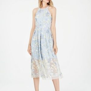 Vince Camuto Embroidered Halter Mesh Midi Dress